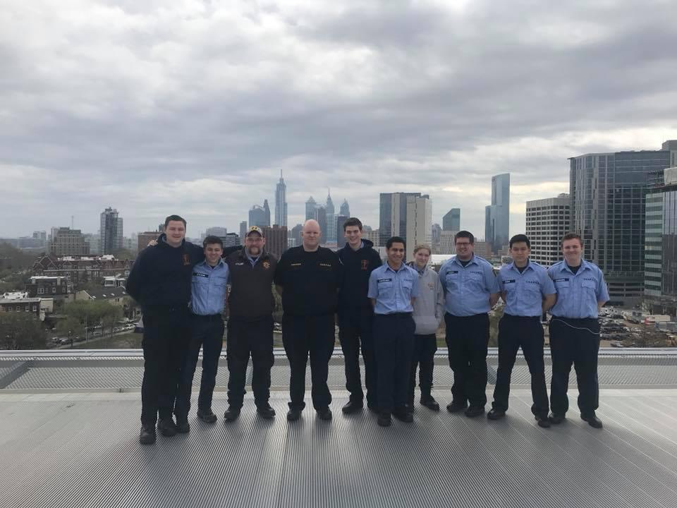 Anthony Santiago and his classmates traveled to the University of Pennsylvania Hospital in Philadelphia -- here posing on the helipad overlooking Center City.